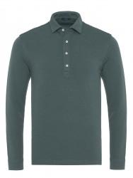 Germirli - Germirli Yeşil Dokulu Örme Gömlek Yaka Düğmeli Tailor Fit Uzun Kollu T-Shirt