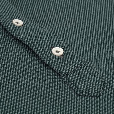 Germirli - Germirli Yeşil Dokulu Örme Gömlek Yaka Düğmeli Tailor Fit Uzun Kollu T-Shirt (1)