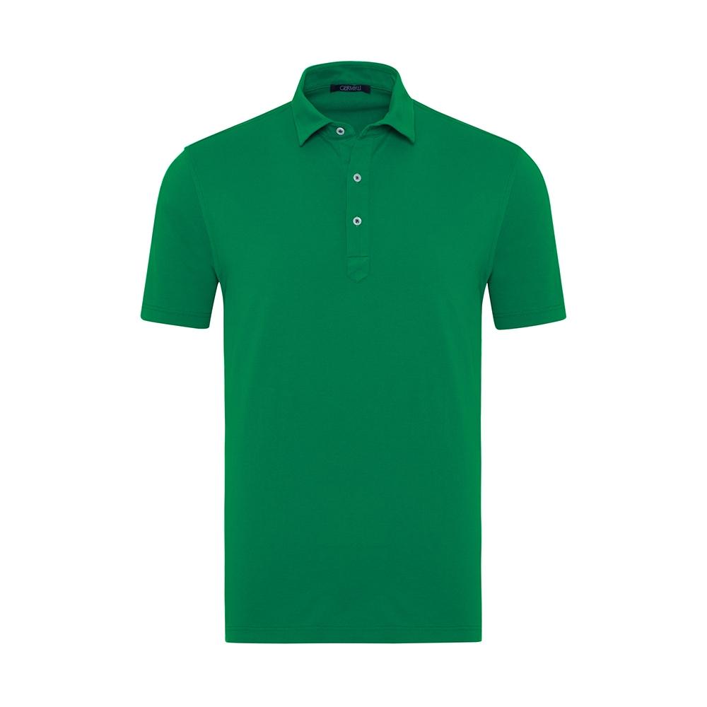 Germirli - Germirli Yeşil Gömlek Yaka Polo Tailor Fit T-Shirt