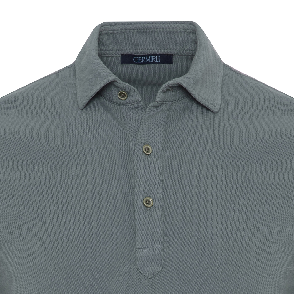 Germirli Yeşil Gömlek Yaka Polo Vintage Tailor Fit T-Shirt