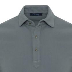 Germirli Yeşil Gömlek Yaka Polo Vintage Tailor Fit T-Shirt - Thumbnail