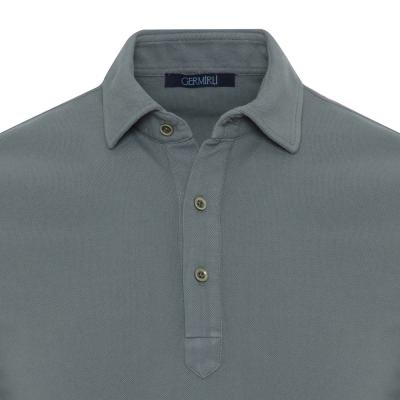 Germirli - Germirli Yeşil Gömlek Yaka Polo Vintage Tailor Fit T-Shirt (1)