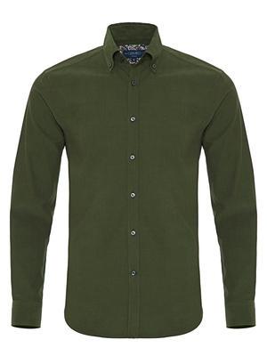 Germirli - Germirli Yeşil Kadife Düğmeli Yaka Tailor Fit Gömlek