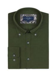 Germirli Yeşil Kadife Düğmeli Yaka Tailor Fit Gömlek - Thumbnail