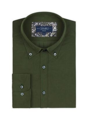 Germirli - Germirli Yeşil Kadife Düğmeli Yaka Tailor Fit Gömlek (1)
