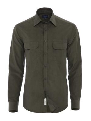 Germirli - Germirli Yeşil Kadife Tailor Fit Gömlek