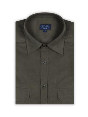 Germirli - Germirli Yeşil Kadife Tailor Fit Gömlek (1)