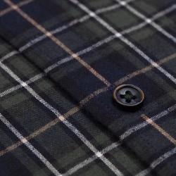 Germirli Yeşil Lacivert Beyaz Kareli Düğmeli Yaka Flanel Tailor Fit Gömlek - Thumbnail