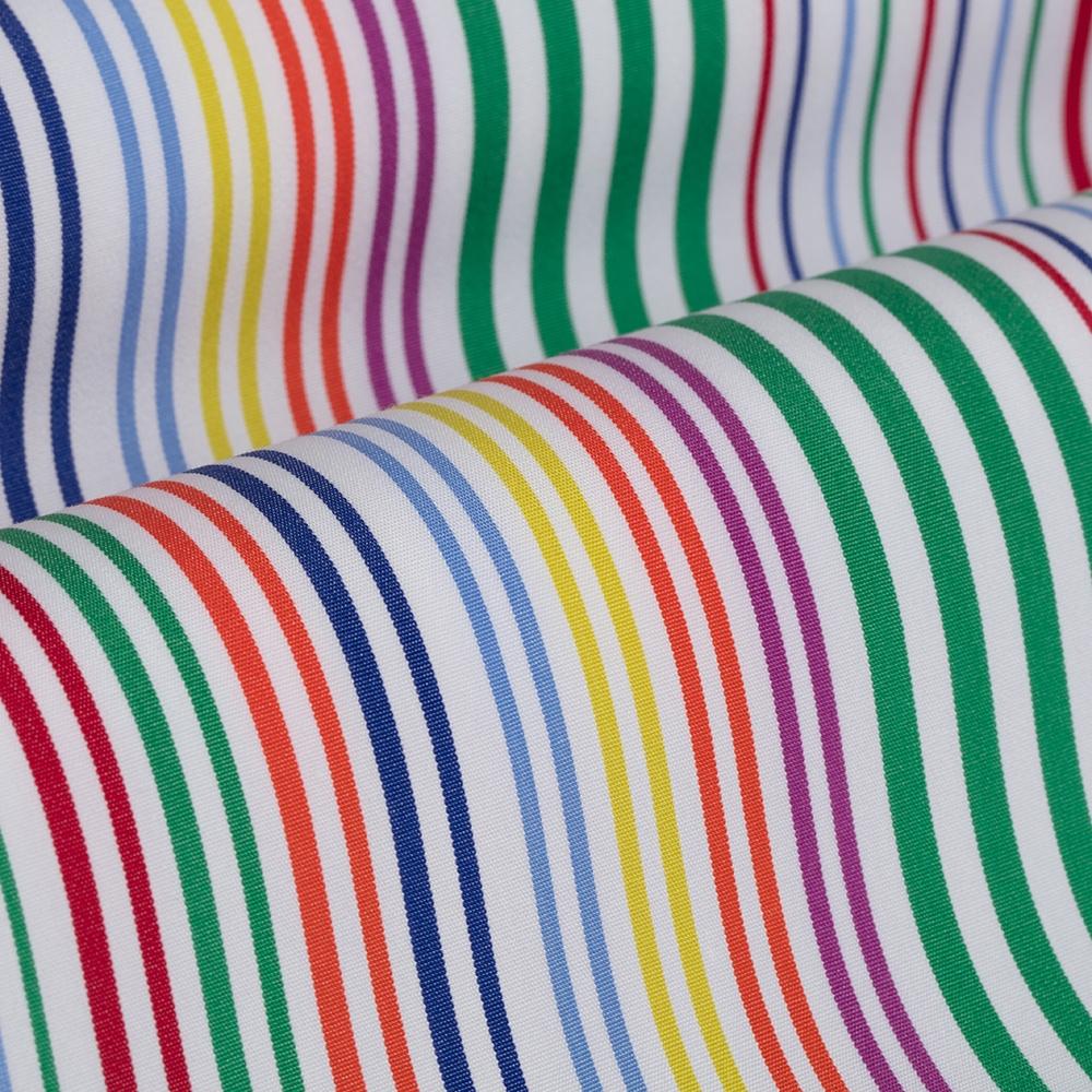 Germirli Yeşil Mavi Sarı Kırmızı Çizgili Düğmeli Yaka Tailor Fit Gömlek