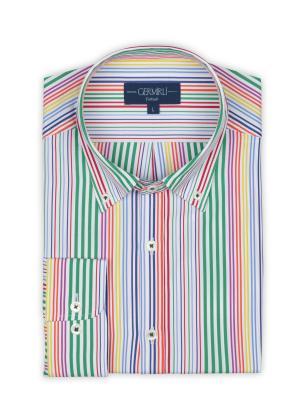 Germirli - Germirli Yeşil Mavi Sarı Kırmızı Çizgili Düğmeli Yaka Tailor Fit Gömlek (1)