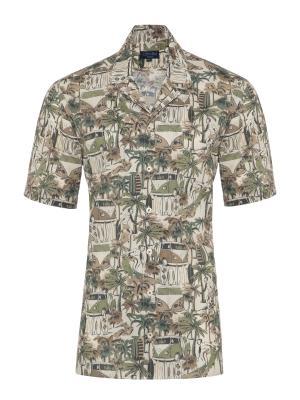 Germirli - Germirli Yeşil Palmiyeli Hawaii Kısa Kollu Tailor Fit Gömlek