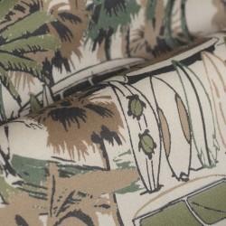 Germirli Yeşil Palmiyeli Hawaii Kısa Kollu Tailor Fit Gömlek - Thumbnail