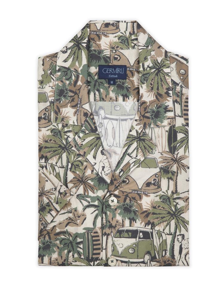 Germirli Yeşil Palmiyeli Hawaii Kısa Kollu Tailor Fit Gömlek