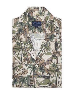 Germirli - Germirli Yeşil Palmiyeli Hawaii Kısa Kollu Tailor Fit Gömlek (1)