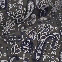 Germirli Yeşil Şal Desen Düğmeli Yaka Tailor Fit Gömlek - Thumbnail