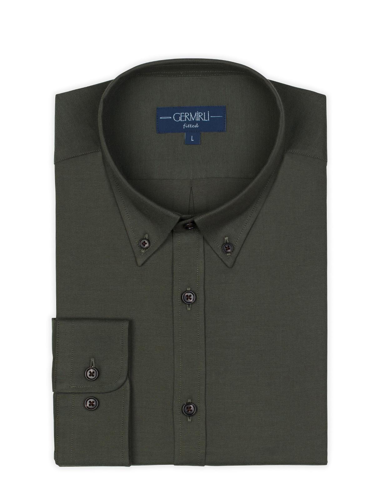 Germirli Yeşil Twill Düğmeli Yaka Tailor Fit Gömlek