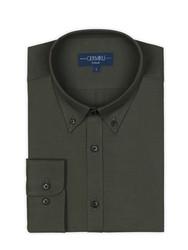 Germirli Yeşil Twill Düğmeli Yaka Tailor Fit Gömlek - Thumbnail