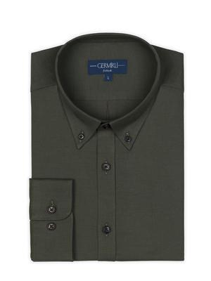Germirli - Germirli Yeşil Twill Düğmeli Yaka Tailor Fit Gömlek (1)