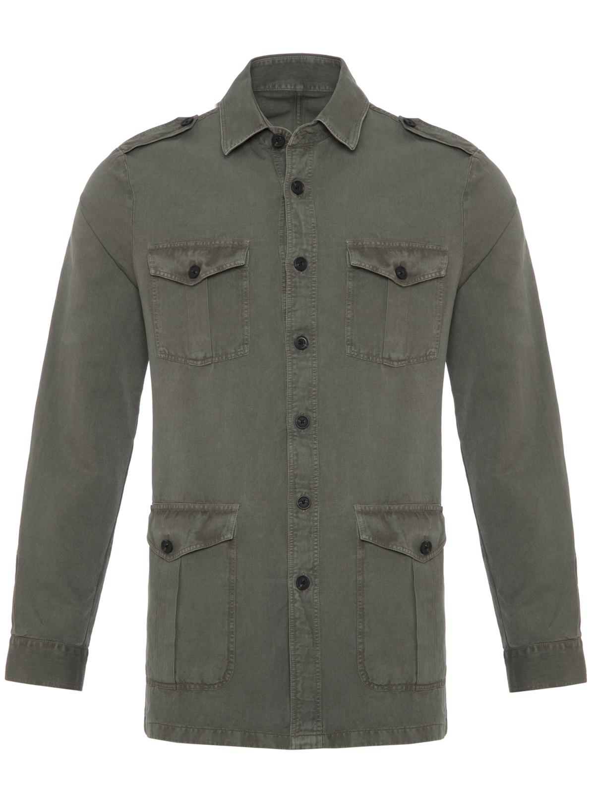 Germirli Yeşil Vintage Keten Safari Tailor Fit Ceket Gömlek