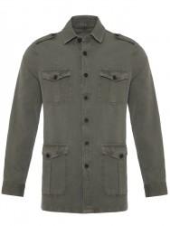 Germirli - Germirli Yeşil Vintage Keten Safari Tailor Fit Ceket Gömlek (1)