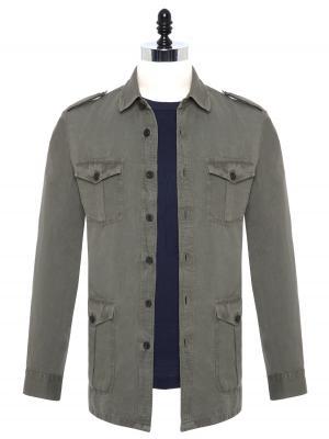 Germirli - Germirli Yeşil Vintage Keten Safari Tailor Fit Ceket Gömlek