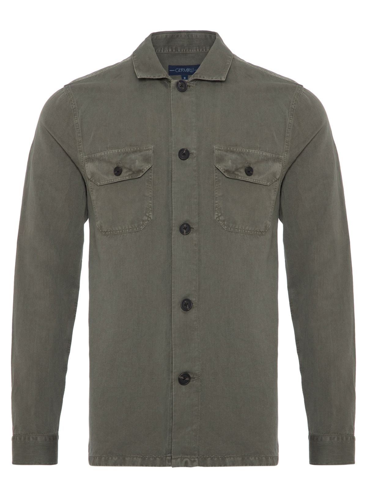 Germirli Yeşil Vintage Keten Tailor Fit Ceket Gömlek