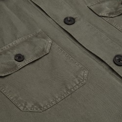 Germirli Yeşil Vintage Keten Tailor Fit Ceket Gömlek - Thumbnail