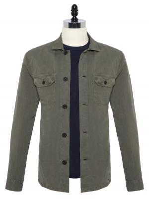 Germirli - Germirli Yeşil Vintage Keten Tailor Fit Ceket Gömlek