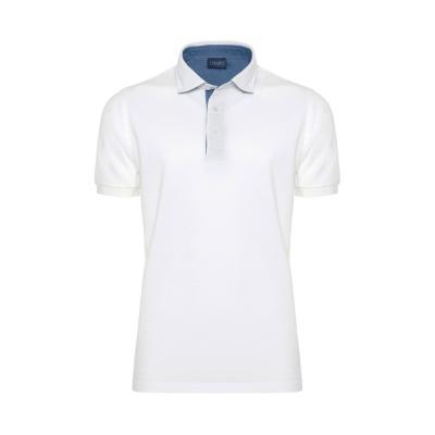 Germirli Gömlek Yaka Garnili Beyaz Polo T-Shirt