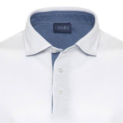 Germirli - Germirli Gömlek Yaka Garnili Beyaz Polo T-Shirt (1)