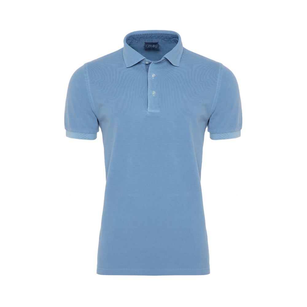 Germirli Gömlek Yaka Garnili Mavi Polo T-Shirt