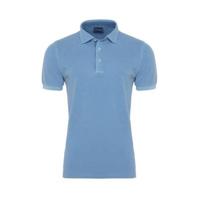 Germirli - Germirli Gömlek Yaka Garnili Mavi Polo T-Shirt