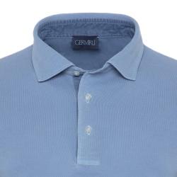 Germirli Gömlek Yaka Garnili Mavi Polo T-Shirt - Thumbnail