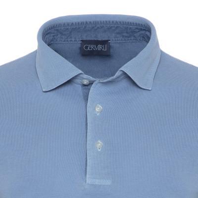 Germirli - Germirli Gömlek Yaka Garnili Mavi Polo T-Shirt (1)