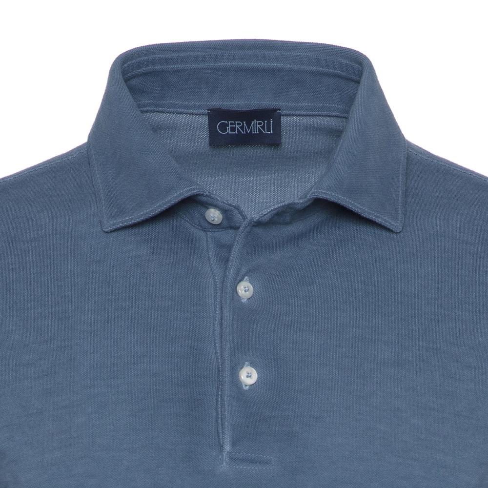 Germirli Gömlek Yaka İndigo Mavi Polo T-Shirt