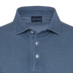 Germirli Gömlek Yaka İndigo Mavi Polo T-Shirt - Thumbnail