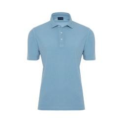 Germirli Gömlek Yaka Mavi Polo T-Shirt - Thumbnail
