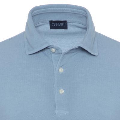 Germirli - Germirli Gömlek Yaka Mavi Polo T-Shirt (1)