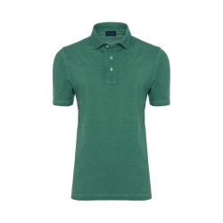 Germirli Gömlek Yaka Yeşil Polo T-Shirt - Thumbnail