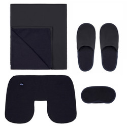 Gran Sasso Travel Kit Yün Örme Lacivert Battaniye Boyun Yastığı Uyku Maskesi Travel Kit - Thumbnail