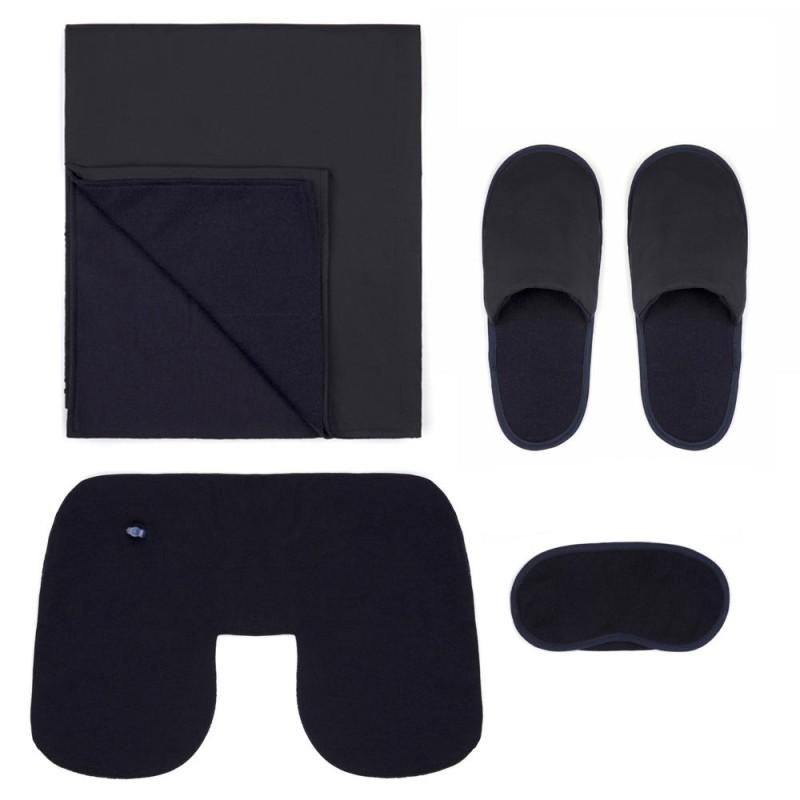 Gran Sasso - Gran Sasso Travel Kit Yün Örme Lacivert Battaniye Boyun Yastığı Uyku Maskesi Travel Kit