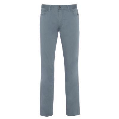 Hiltl 5 Cep Gri Mavi Pamuk Saten Pantolon