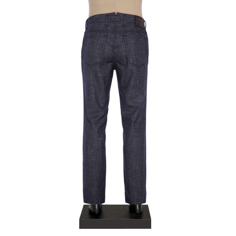 Hiltl - Hiltl 5-Cep Kırçıllı Lacivert Yün - Pamuk Pantolon (1)