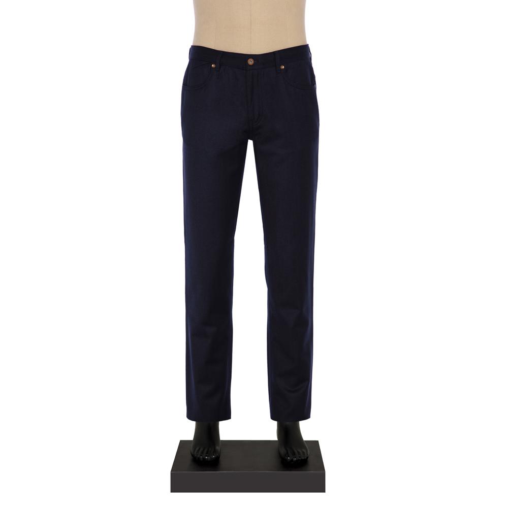 Hiltl 5-Cep Lacivert Yün - Pamuk Pantolon