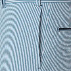Hiltl Bermuda Mavi Beyaz Çizgili Seersuker Bermuda - Thumbnail