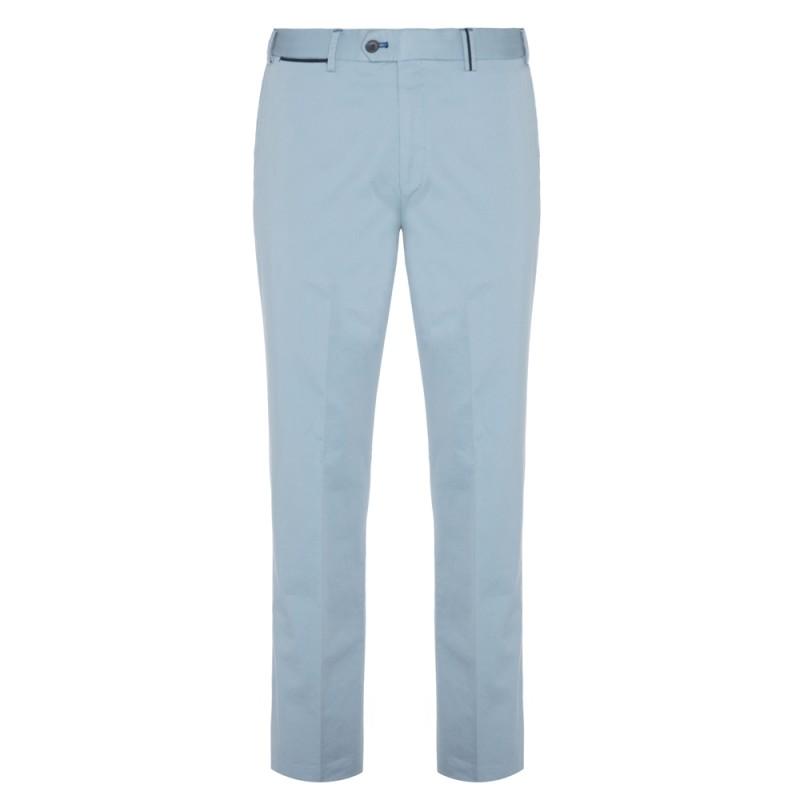 Hiltl - Hiltl Chino Light Blue Satin Supima Trousers