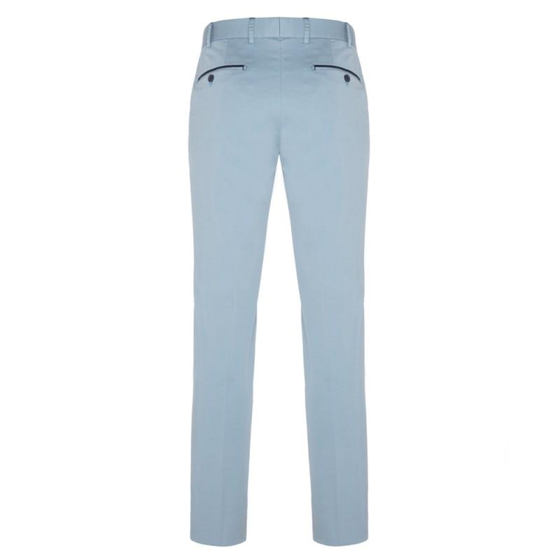 Hiltl - Hiltl Chino Light Blue Satin Supima Trousers (1)