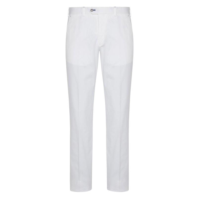Hiltl - Hiltl Chino Beyaz Slim Fit Süper Fine Twill Pamuk Elastan Pantolon