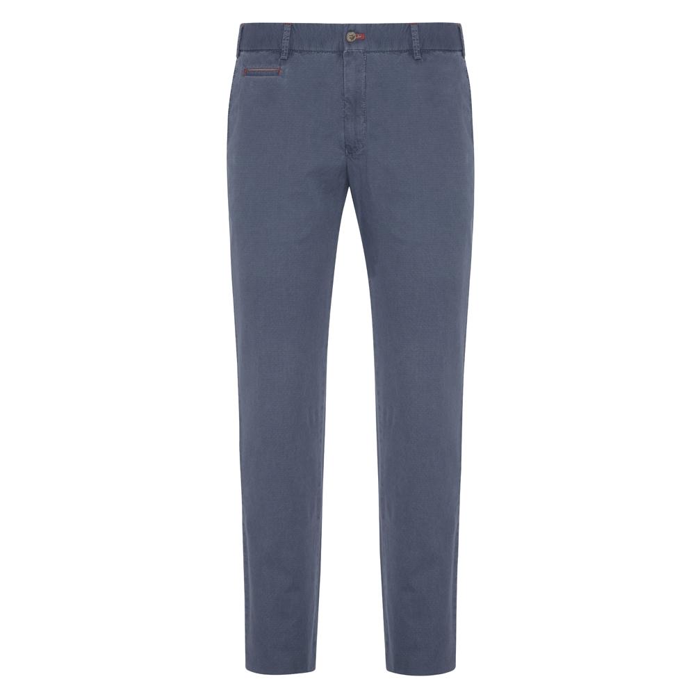 Hiltl - Hiltl Chino Havacı Mavi Slim Fit Ripstop Twill Pamuk Elastan Pantolon