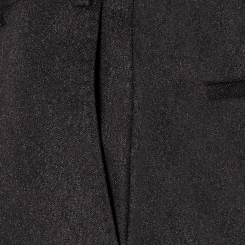 Hiltl Flanel Kahverengi Yün Çift Kat Melanj Süper 120'S Pantolon